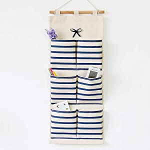 Storage Hanging Bag Cloth Striped Bow Knot Pocket Storage Hanging Bag Wall Debris Hanging Wall Bag Door Hanging Organizer Blue