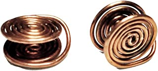 Copper Tone Wire Wrapped Clip-on Earrings, about 12mm, Handmade in USA by Earlums