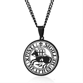Collana donna collana collana uomini eleganti sigillo di cavaliere templer braccia medievali stagno amuleto collane orecch...