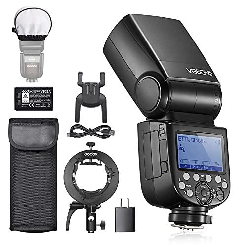 Godox V860IIIC HSS Flash para cámara Canon EOS, TTL 76Ws 2.4G, Batería de Iones de Litio de 7,2V/2600mAh, 0.01-1.5s Tiempo de Reciclaje, Lámpara de Modelado LED de 10 Niveles, con Soporte Godox S2