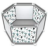 Nrkin Parque infantil hexagonal con red transpirable para niños en interiores y exteriores