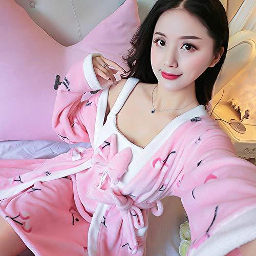 FDJIAJU Robes Voor Vrouwen, 2 Stks/Set Boog Jurk Flanel Robe Winter Warm Kers Patroon Roze Nachtkleding Dikke Nachtjassen Badjas Kerstmis Kerstmis Kerstmis Gift Vrouwen Pyjama Slaapmode