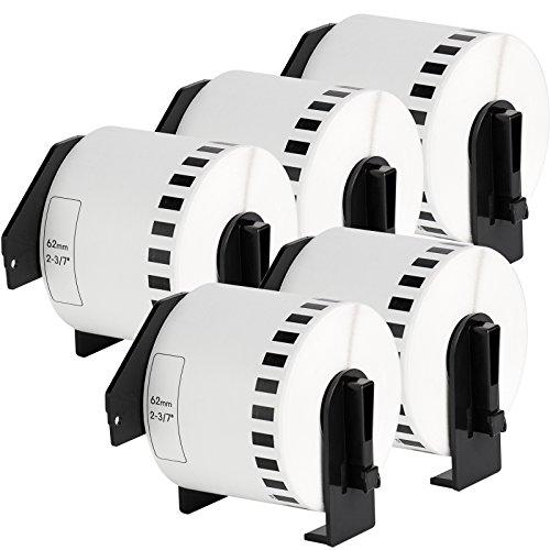 5x Cinta continua de papel blanca por BROTHER DK-22205 | Adhesivo permanente / 62mm x 30,48 m| adecuado para Brother P-Touch QL 500 Series / 500 / 500A / 500BS / 500BW / 550 / 560 Series / 560 / 560VP / 560YX / 570 / 580 Series / 580 / 580N / 650TD / 700 / 710W / 720NW / 1000 Series / 1050 / 1050N / 1060N