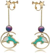 Clip on Earrings Dolphin Drop Dangle Earring Fish Beads Star Enamel Women Girls Gold tone no Pierced Cute