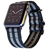 Carterjett Compatible with Apple Watch Nylon Band 42mm and New 44mm iWatch Band Replacement Strap Military-Style Woven Stripe for Sport Nike Series 5 4 3 2 1, 42/ 44mm S/M/L Space Gray/Black
