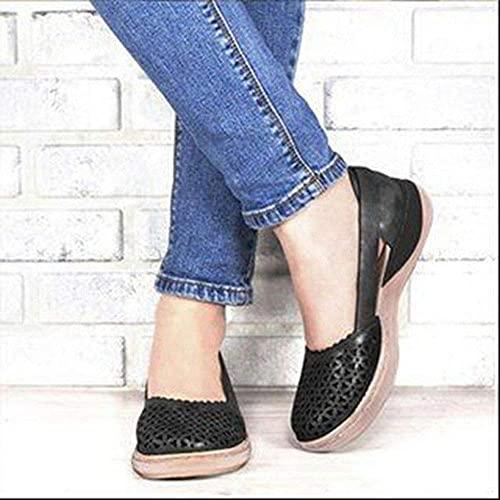 Cabeza Redonda Soft Casual Slip on Meroders Sandalias Mujeres Faux Cuero Cómodo Sandal Sandal Sandal Square Shoes,Negro,42