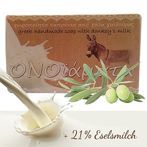 Eselsmilchseife mit 21% Eselmilch und Olivenöl handgemachte Seife 1er Pack (1 x 100 g) - Naturseife aus Griechenland für Bad Dusche Körperpflege
