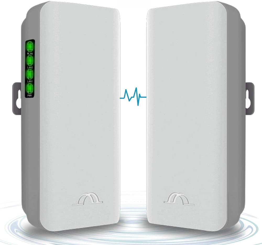 5.8G Wireless Bridge PTMP WiFi PTP Point to Point Access Outdoor Network CPE 2KM Transmission Distance with 12DBi High-Gain Antenna 2 LAN 100MBps Ethernet Port 24V PoE Power Supply 2 Pack