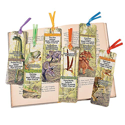 Fun Express Laminated Dinosaur Bookmarks - 48 Pieces - Educational and Learning Activities for Kids