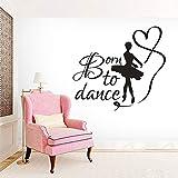 ASFGA Dibujos Animados Nacido para Bailar Cartel de Pared decoración de Estudio de Baile Bailarina Etiqueta de la Pared Danza con Cinta niños Dormitorio Pared calcomanía Arte 88x80cm