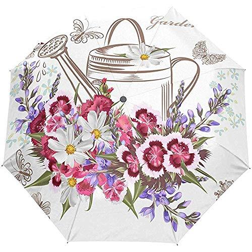 Paraguas Abierto Automático Cerrado Hermosas Flores De Jardín E Insectos Regadera Paraguas Plegables Compactos A Prueba De Viento
