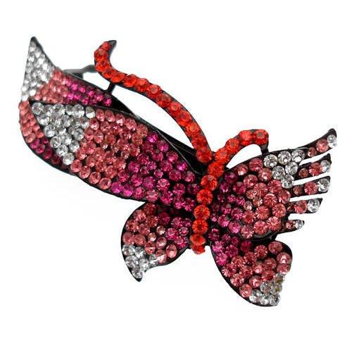 Acosta–grande Fuchisia & cristallo Swarovski rosso–Farfalla fermacapelli fermaglio/di confezione regalo