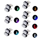Febrytold 14Pcs USB Car Interior Atmosphere Lamps, Universal Mini Led USB Lights Kit for Car Interior Ambient Lighting (7 Colors: Blue White Yellow Red Green Pink-purple Ice-blue)