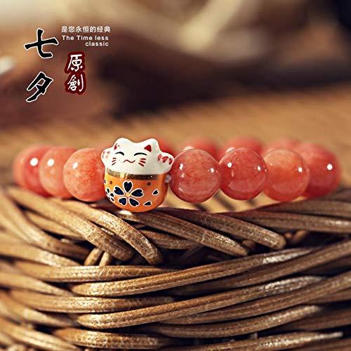 YUANOMSL Pulsera De Ceramica,Orange Sweet Lovers Transfer Beads Crystal Beads Tejido A Mano Novias Regalos Amantes Mano Cuerda Moda Regalos Joyería Linda Regalo Adornos De Muñeca