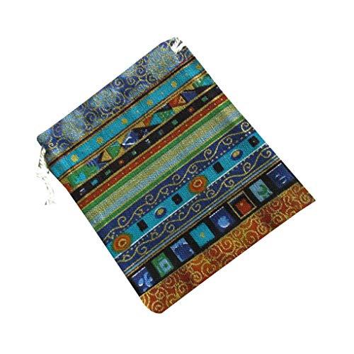 rongweiwang Ethnic Style Unisex Printing Cotton Linen bag Drawstring Storage Bag Small Drawstring Change Wallet Jewelry Bag