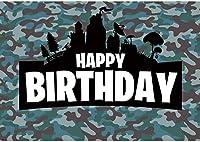HD 7x5ftダーツ戦争ゲームハッピーバースデーバックグラウンドフォーボーイターゲットへようこそバトルフィールドへようこそカモフラージュ写真の背景ガンパーティー用品小さな兵士の装飾写真ブースの小道具