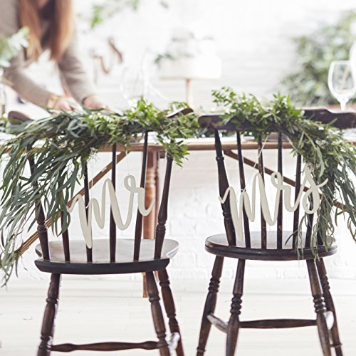 Chair Bunting 2 Stk Mr & Mrs Beautiful Botanics Holz Stuhldekoration Hochzeit