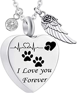 Charms Urn Necklace for Ashes Dog Paw Prints Heart Necklace Stainless Steel Birthstone Keepsake Memorial Pet Cremation Jewelry