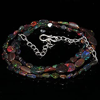 """Jewel Beads Natural Beautiful jewellery Natural Ethiopian Welo Fire Black Opal Tumble Nuget Size :- 3x4 to 6x9 MM Length :- 17"""" Necklace #570Code:- JBB-9104"""