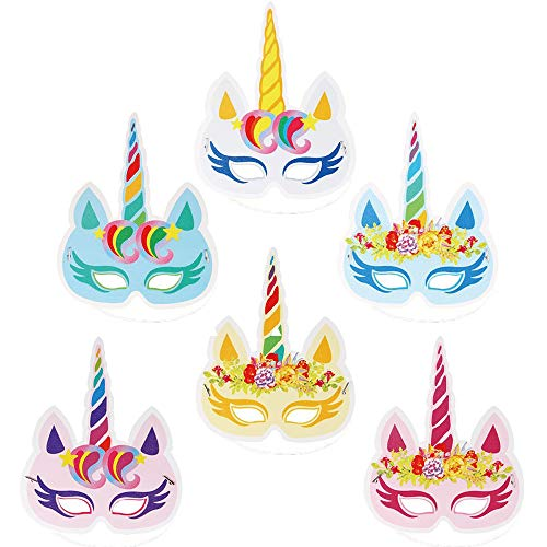 Kids Birthday Maskers Party Hat Eye maskers Unicorn Horns elastische hoofdband Paper