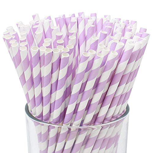Just Artifacts Premium Biodegradable Disposable Drinking Striped Paper Straws (100pcs, Lavender)