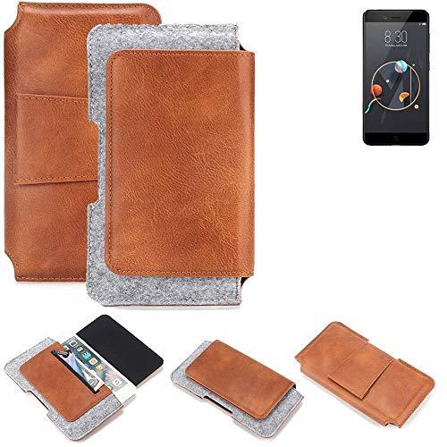 K-S-Trade® Schutz Hülle Für Archos Diamond Alpha Gürteltasche Gürtel Tasche Schutzhülle Handy Smartphone Tasche Handyhülle PU + Filz, Braun (1x)
