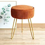 Modern Velvet Round Footstool Ottoman, Brown Ottoman Vanity Stool Foot Rest with Gold Legs, Upholstered Pleated Vanity Chair Ottoman Stool, Makeup Stools for Vanity, Footrest for Living Room, Bedroom