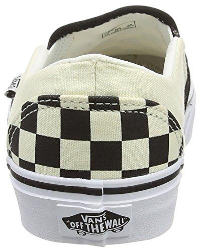 Vans Asher, Scarpe da Ginnastica da Infilare Donna, Bianco (Checkerboard/Black/White), 38 EU