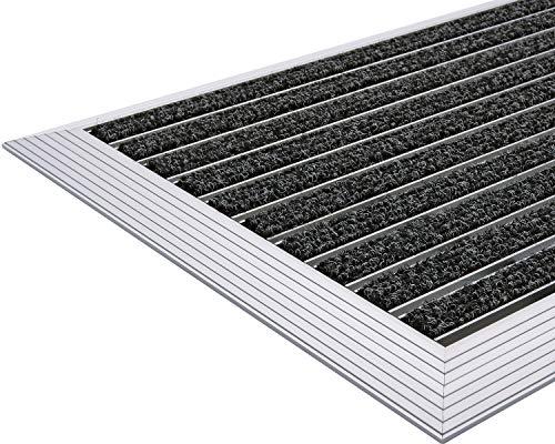 Desan | Alu Fußmatte Ultra Mat | 22mm Aluminium Fußabtreter für Außen und Innen | Türmatte für die Haustür | Alu Rampe | Schmutzfangmatte in 3 Größen | Anthrazit | Textilrips | 48 x 80 cm