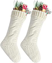 (Pack 2, Length 46cm, Width 15cm, Ivory) - Pack 5.5cm Unique Ivory White Knit Christmas Stockings