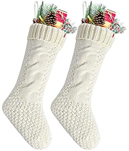 "Standard large size 18"" long,width:5"",The knitted patterns are place in BOTH SIDE,you can hang it from left to right or from right to left Made by high quality woolen yarn with exquisite craftsmanship make the christmas stockings durable and better s..."