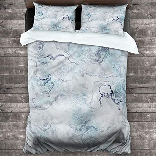 Cover Set Marble,Soft Hazy Ottoman Style 3 Piece Bedding Set (1 Duvet Cover,2 Pillow Shams) with Zipper Closure & Corner Ties, Cal King 90'x90'