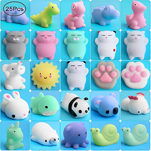 Outee Mochi Squishies Toy, 25 Pcs Mochi Squishies Animals Mini Toys Stress Relief Squishies Random Animals Squishies Toys Mini Squishies Animals Stress Toys Cat Mini Stress Squishies