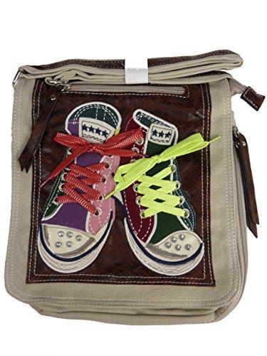 Amigos 007/5 kleine Stofftasche für Mädchen I Umhängetasche mit sneakers I glitzer Pailletten I bunte Schuhbänder I Turnschuhtasche (beige sandy)