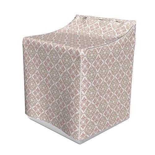 ABAKUHAUS marokkanisch Waschmaschienen und Trockner, Pastellfarbig Komplexe Fliesen mit geometrischen Formen Persische Kunst, Bezug Dekorativ aus Stoff, 70x75x100 cm, Beige, Rosa, Weiß