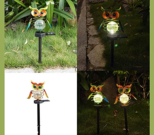 Kroity Solar Lights Outdoor Garden, Decorative Owl Shaped LED Solar Powered Stake Lights for Walkway, Pathway, Yard, Lawn, Garden Ornaments Outdoor, Decking & Patio Lighting (Blue)