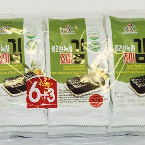 PaC Alghe secche tostate con olio e tè verde - 9 confezioni da 40,5 grammi / Dried toasted seaweed with oil and green tea - 9 pack 40,5 g