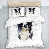 QINCO Bettwäsche-Set, Mikrofaser,Lustiges Border-Collie-Porträt-Hundeaquarell-reinrassiges entzückendes Tierschwarzes,1 Bettbezug 135x200 + 2 Kopfkissenbezug 50x80,Single