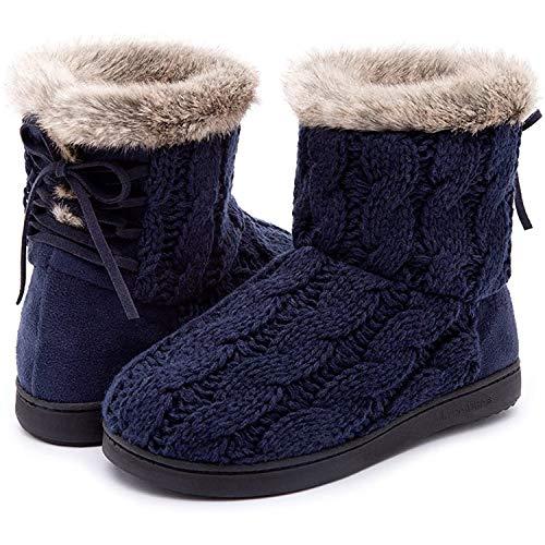ULTRAIDEAS Women's Comfort Woolen Yarn Woven Bootie Slippers Memory Foam Plush Lining Slip-on House Shoes(Navy Blue,8)