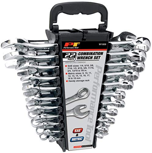 Performance Tool W1099 22-Piece SAE and Combination Metric Wrench Set with Organizer Rack