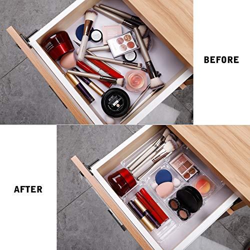 Fixwal 26pcs Clear Drawer Organizers Set 4 Size Drawer Tray Dividers Organizers Versatile Kitchen Utensil Bathroom Office Storage Divider Bin for Desk Makeup Dresser Vanity Cabinet