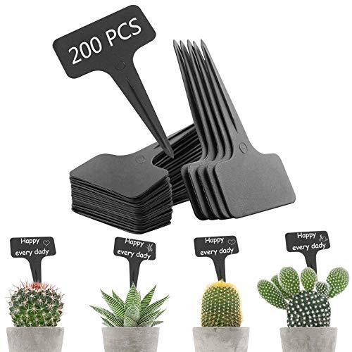 200 carteles para plantas, en forma de T, de plástico, práctico para todos los jardineros, etiquetado de plantas, letreros de hierbas, resistente a la intemperie, longitud 10 cm (negro)