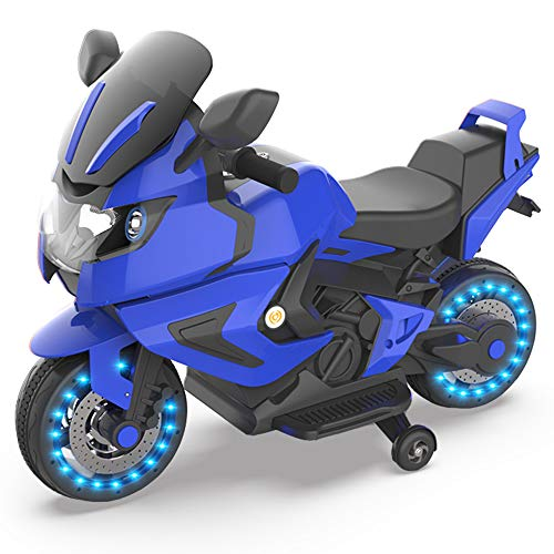 HOVER HEART Kids Chargeable Electric Power Motorcycle 12V Ride On Toy Bike with LED Wheels &Training Wheels for 3-7 Age (Blue #1)