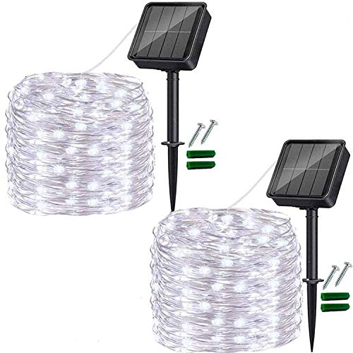 Outdoor Solar String Lights, 2 Pack 33FT 100LED Solar Powered Fairy Lights Cool White,Waterproof 8 Modes Solar Copper Wire Fairy Lights for Xmas, Patio, Yard, Tree, Garden, Wedding, Party, Lawn