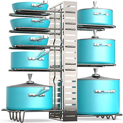 Vdomus pot rack organizer with 3 DIY methods silver plating metal kitchen 8 pots holder height and position are adjustable cabinet pantry pot lid holder silver