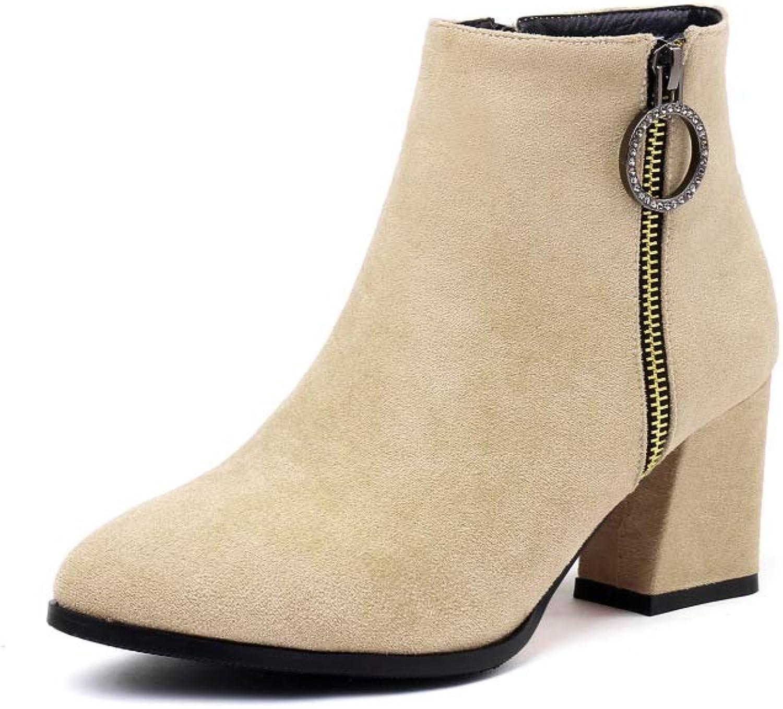 QINGMM Frauen Frauen Frauen Einfache Wildleder Stiefeletten 2018 Herbst Winter Spitz High-Heel-Reißverschluss Stiefel Größe 32-43  d4457a