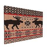 PATINISA Cuadro en Lienzo,Swatch tejido con ciervos y copos de nieve,Impresión Artística Imagen Gráfica Decoracion de Pared