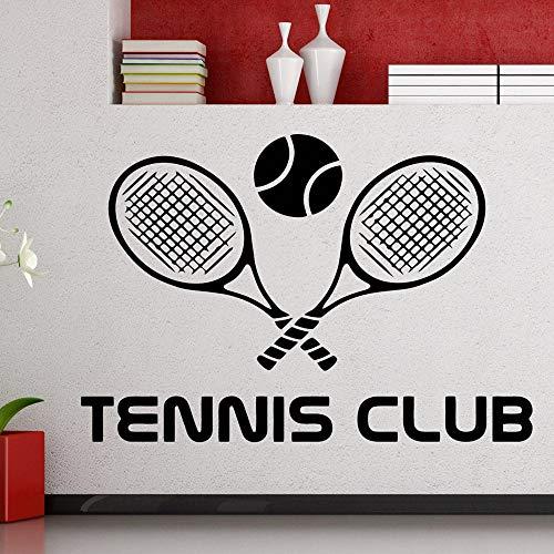 Dwzfme Pegatinas de Pared Adhesivos Pared Logotipo del Club de Tenis, Tenis, Deportes, Raqueta de Tenis, Vinilo, decoración Interior de la habitación, Mural removible Impermeable 83x57cm