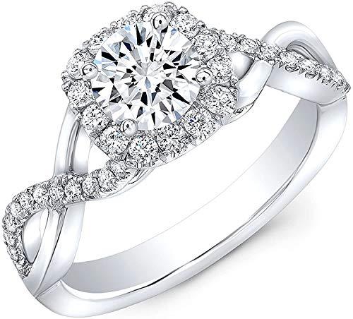 JewelsForum Anillo De Compromiso De Oro De 14K Con Diamante Natural De 1.00 Quilates, Anillo De Bodas Con Certificado, Anillo De Diamante Solitario De 0.50 Quilates (Color Hi, Claridad I1 / I2)