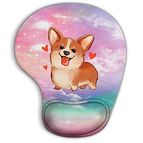 Corgi Ergonomic Mouse Pad with Gel Wrist Rest Support,Gaming Mouse Pad with Lycra Cloth, Non-Slip PU Base for Computer